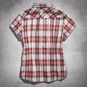 Harley-Davidson Tops - Harley-Davidson Plaid Short Sleeve Button Up